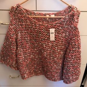 NWT Anthropologie crochet bell sleeve sweater